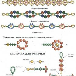 схема плетения сложных фенечек из бисера