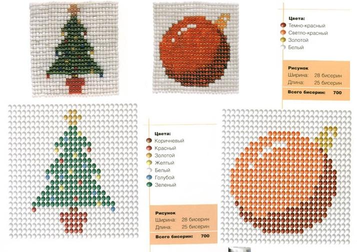 Новогодние картинки схемы для бисероплетения