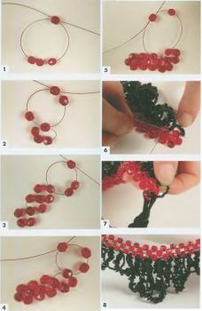 схема плетение ожерелья из кристаллов