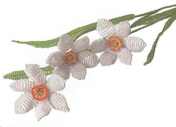 Цветок нарцисс из бисера
