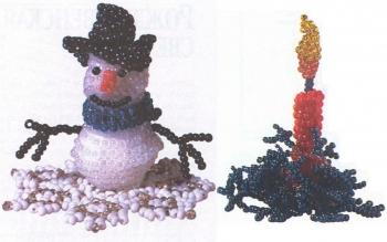 рождественская свеча и снеговик из бисера