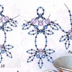 плетение колье из голубого бисера
