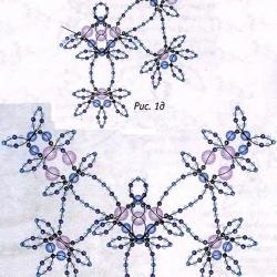 голубое ожерелье из бисера и бусин