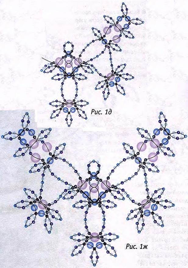 голубое ожерелье из бисера и бусин. схема плетения ожерелья из бисера.