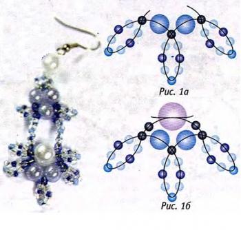 схема плетения серег из бусин