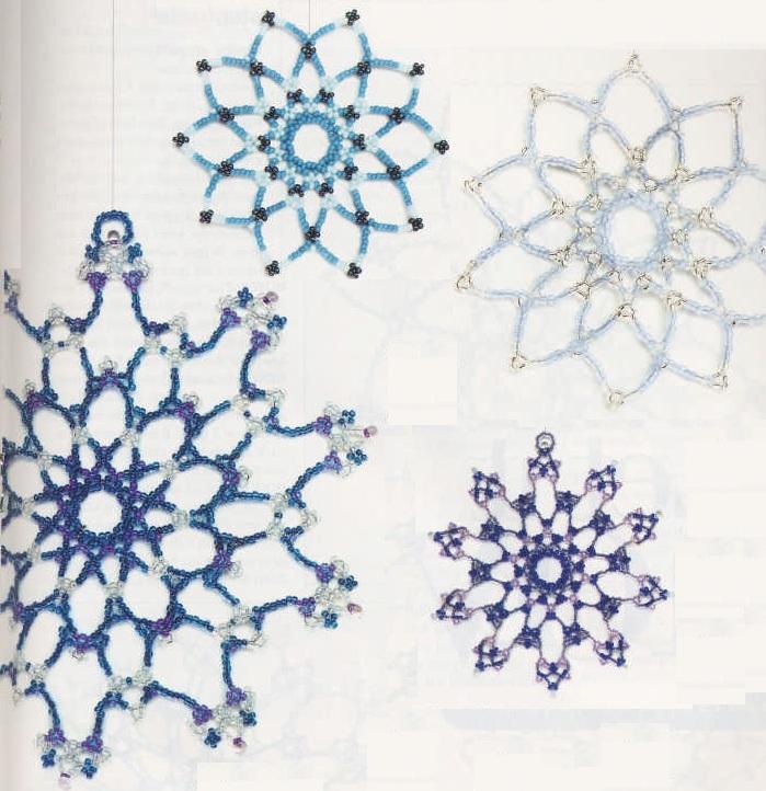 Новогодние снежинки из бисера, бусин и кристаллов.  Больших и маленьких размеров.  Снежинки лучше нанизывать на...