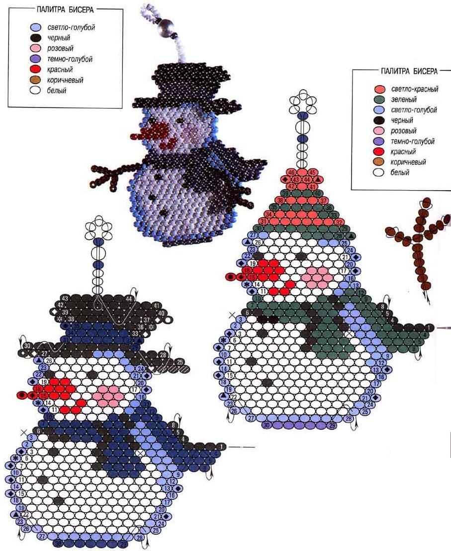 Снеговик из бисера.  Все лучшее детям. .  Сыночку Стасику 9 лет Сынуле Федюше 5,5 лет.