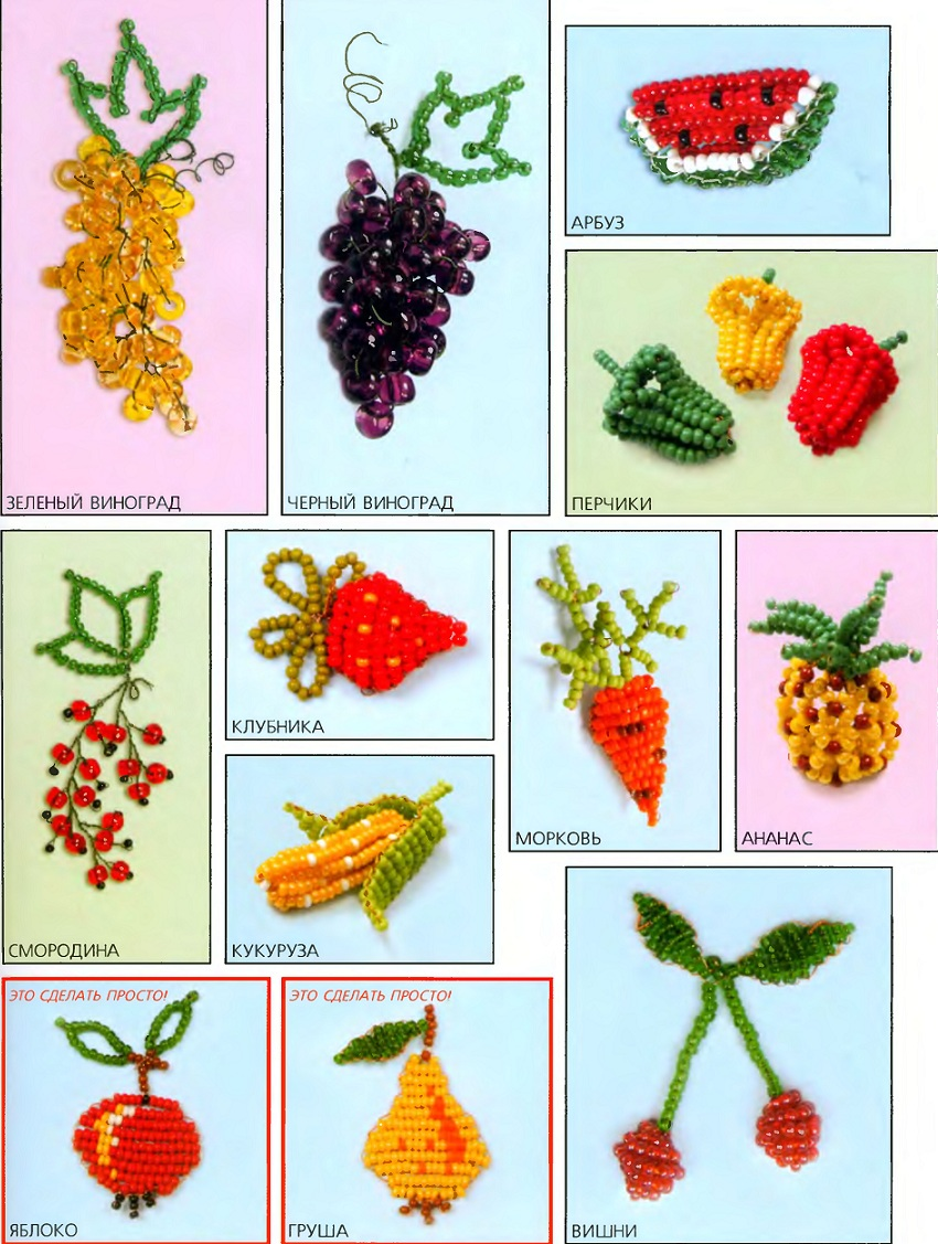 плетение овощей и фрукт из бисера. фрукты и овощи из бисера.