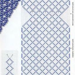 схема плетения синего галстука из бисера