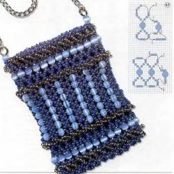 голубая сумочка из бисера для телефона
