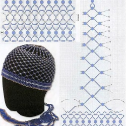 схема синей шапочки из бисера