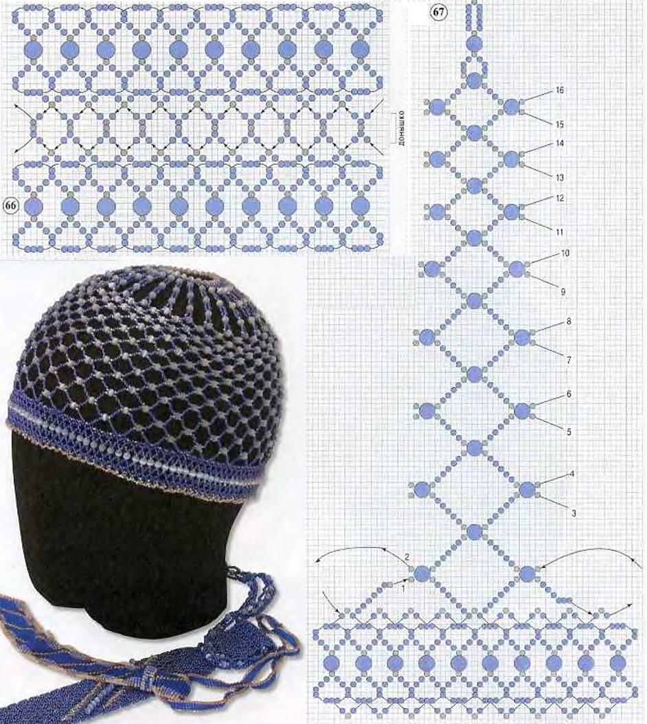 красивая шапочка из бисера. схема синей шапочки из бисера.