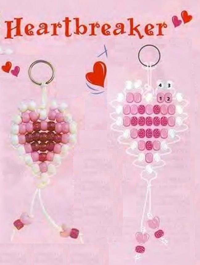 плетение сердечка из розового бисера