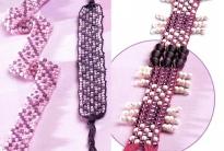 фиолетовые фенечки и пояски из бисера
