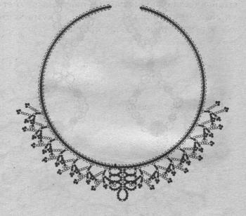 схема колье с подвесками из бисера. схема плетения ожерелья с подвесками.