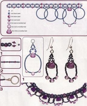 плетение аметистового ожерелья из бусин