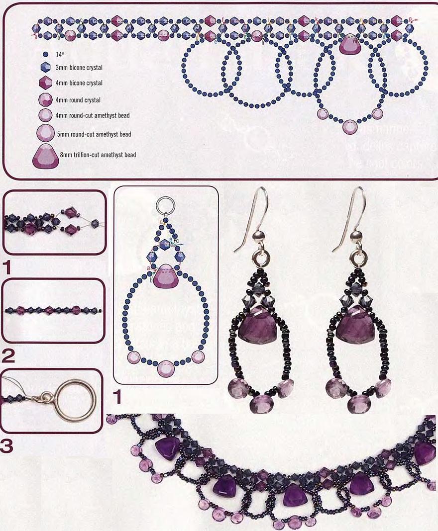 плетение аметистового ожерелья из бусин. схема ожерелья из бисера и бусин.