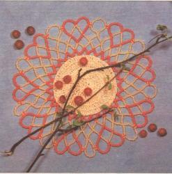 салфетка с сердечками из бисера