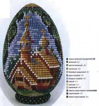 """пасхальное яйцо из бисера. яйцо  """"Деревянная церковь """" из бисера."""