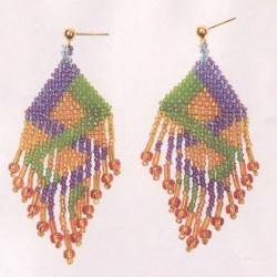 плетем разноцветные серьги из бисера