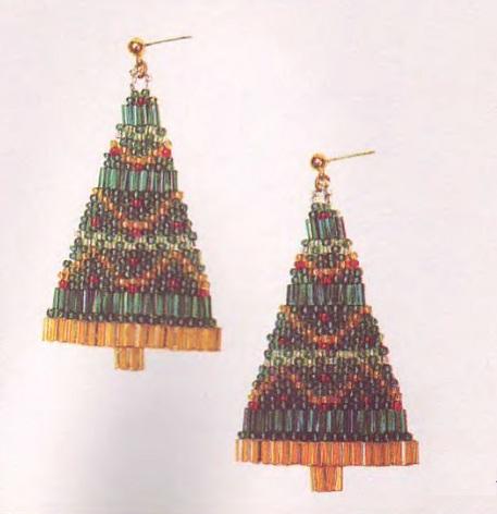серьги как новогоднии елки из бисера