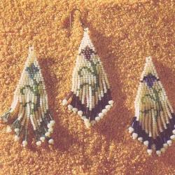 серьги из бисера с цветами