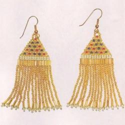серьги из золотого бисера