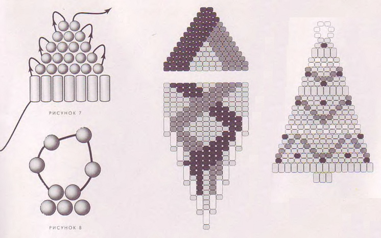 схема сережек из бисера и