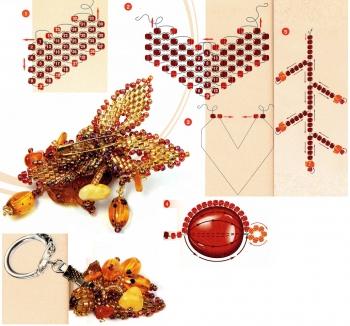 схема плетения броши и брелка
