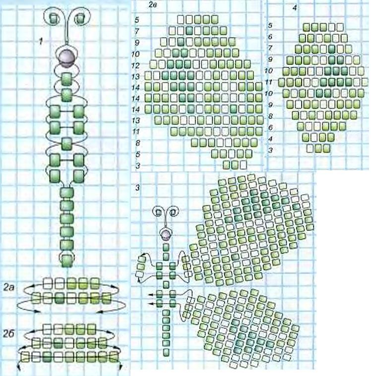 схемы плетения из бисера картинки бабочки.