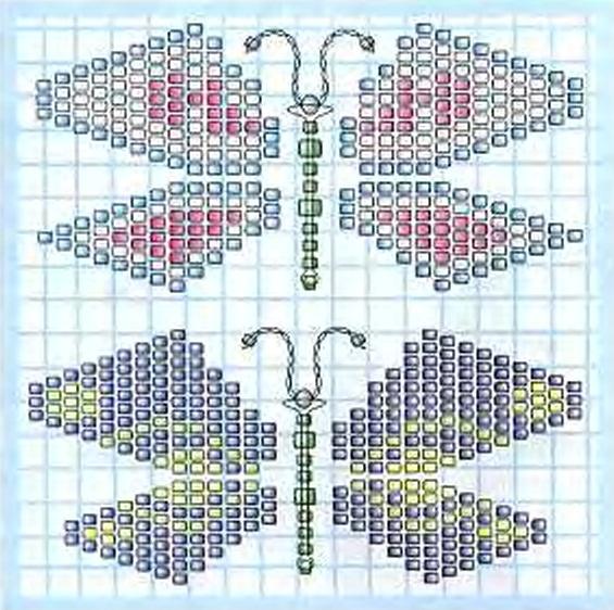 схема бабочек из бисера.