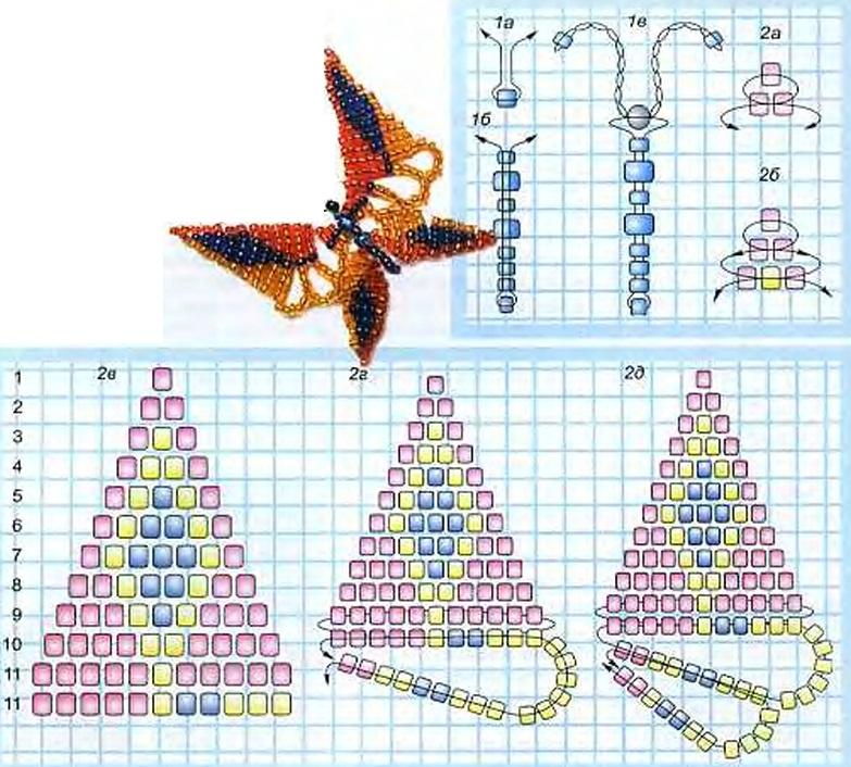 Бабочки из бисера схемы плетения с пошаговым