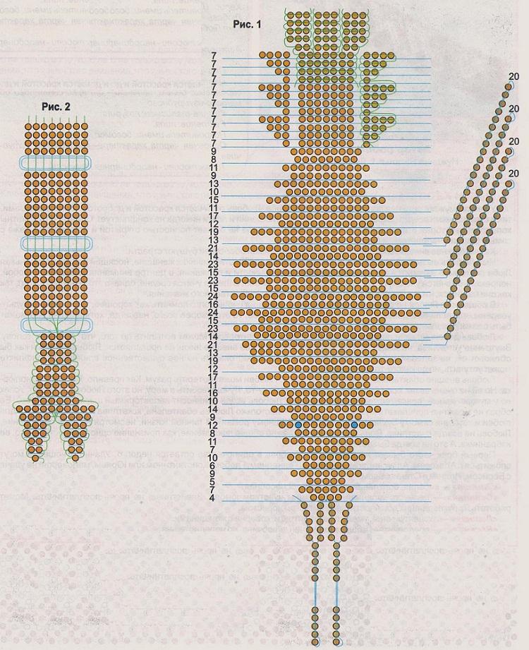 схема плетения рака из бисера