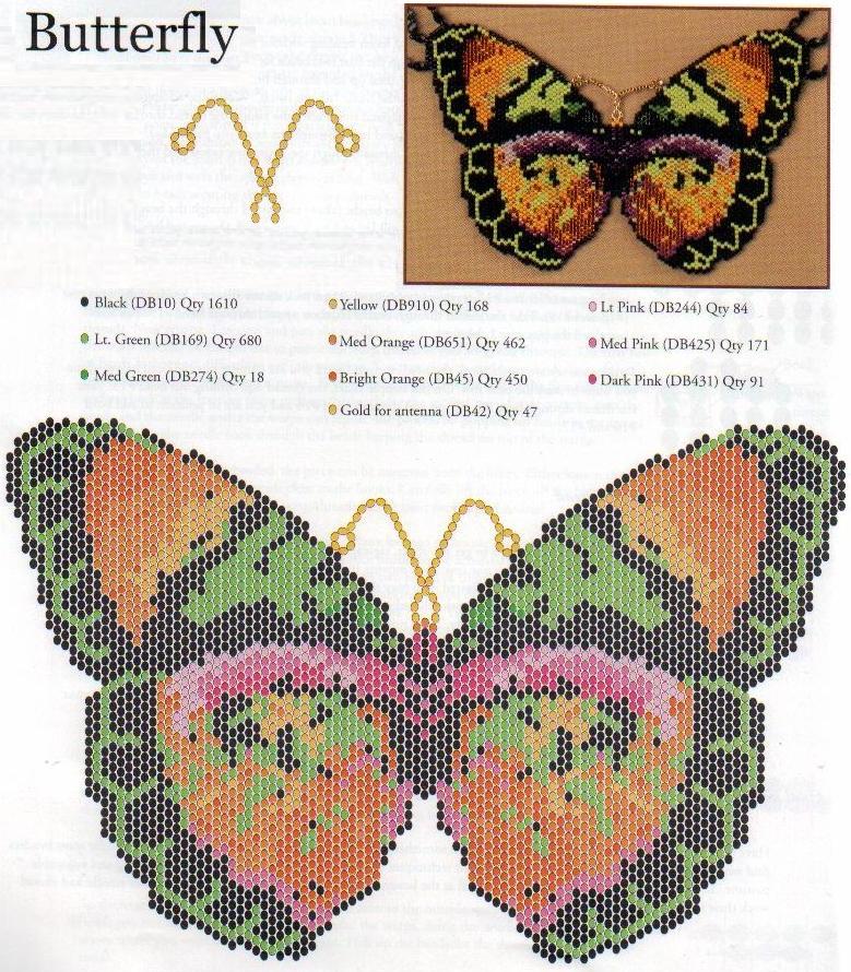 бабочка из бисера. бабочка из плотного плетения.