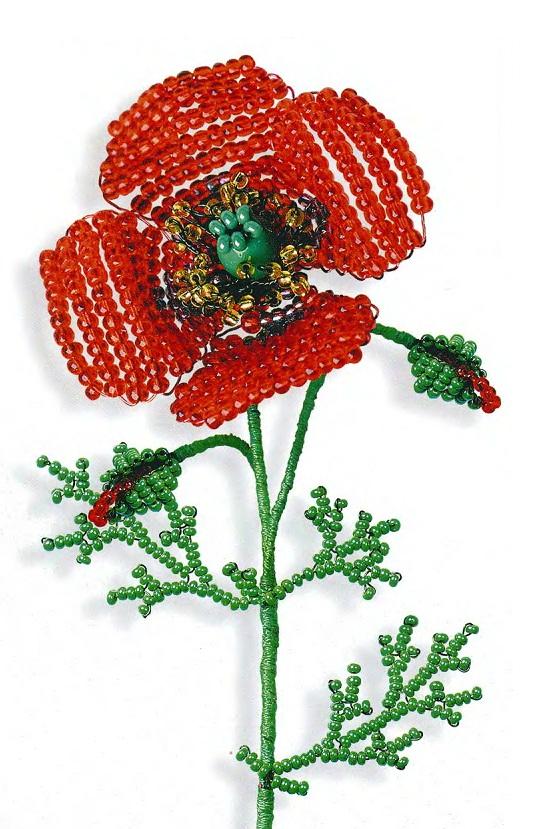 плетем красный мак из бисера