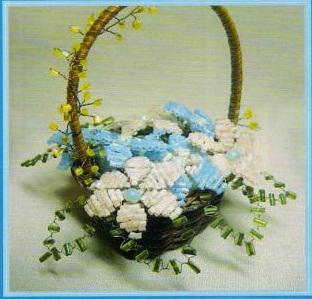 цветы из бисера в корзине. букет цветов в корзине.