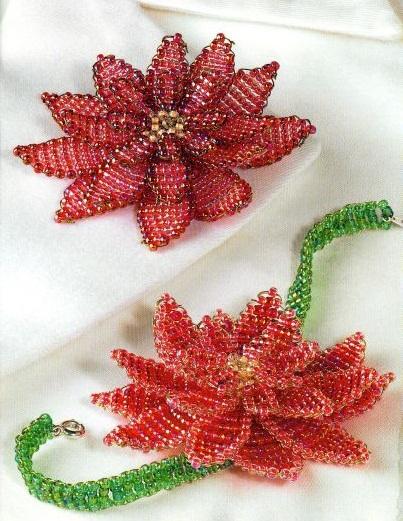 красная лилия сплетенная из бисера