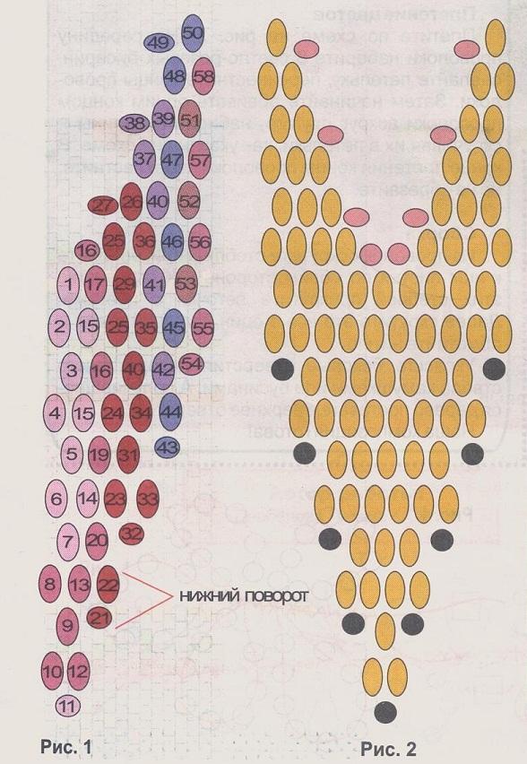 плетем серьги-листики из бисера. схема плетения золотых серег.