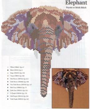 кулон из бисера слон. схема плетения кулона из бисера.