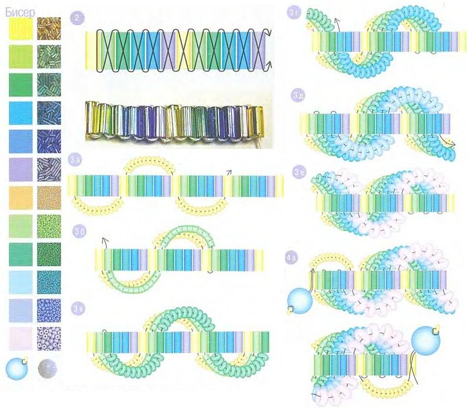 плетем браслет из бисера. радужный браслет и схема.