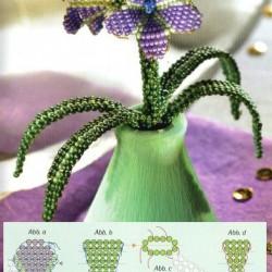 цветы из лилового бисера