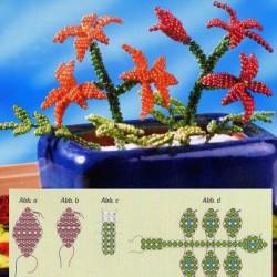 простые цветы из красного бисера