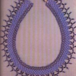 плетение бисерной сетки. лиловое колье.