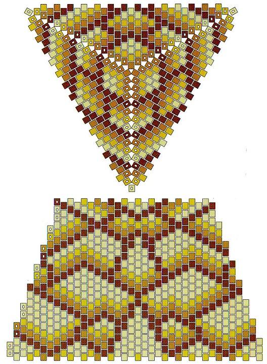 Эту шкатулку плести сложнее.  Более сложный рисунок и треугольники для крышки и дна плетутся разного размера.