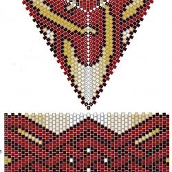шкатулка с красными узорами