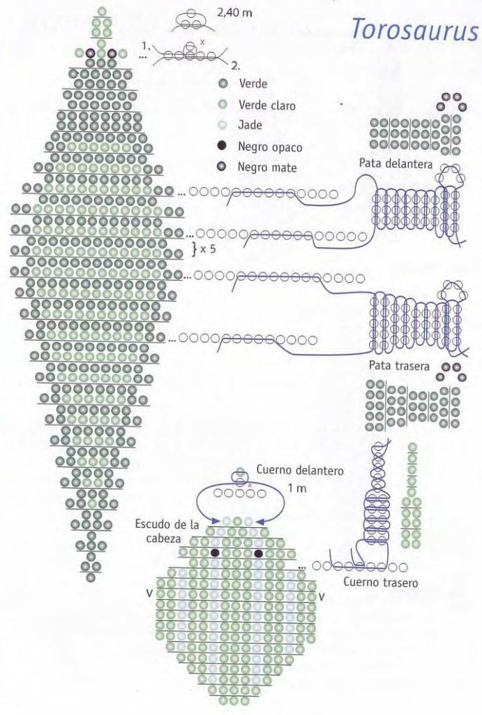 схема плетения динозавра