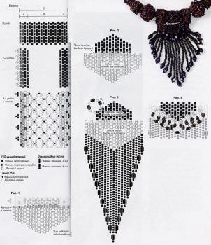 красивый кулон из бисера. схема черного кулона.