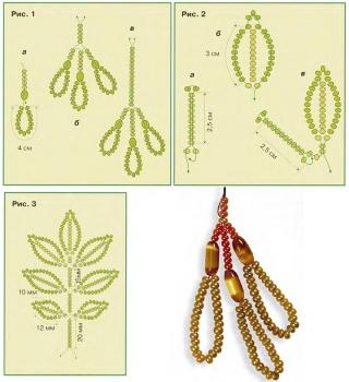 плетем веточку ясеня из бисера