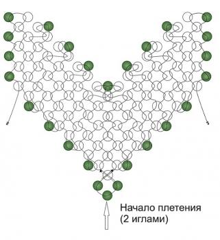 схема листика из бисера
