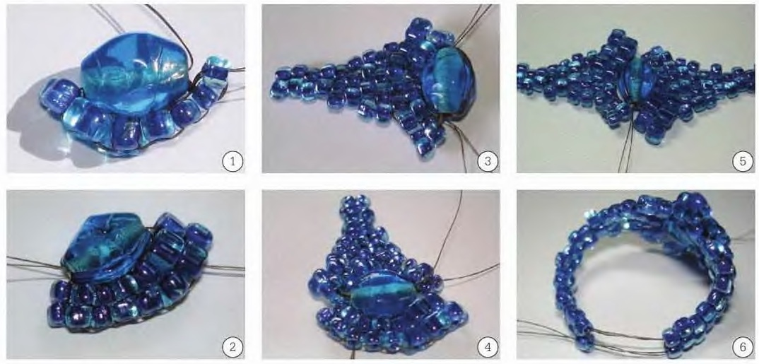 синий перстень из бисера
